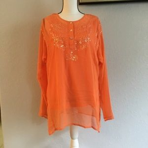 XL orange lined Long sleeve Blouse Embroidered top